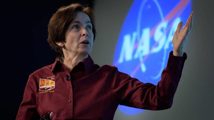 Sue Smrekar, seen here at the 2018 media briefing before the landing of NASA's Mars InSight, is a planetary scientist at NASA's Jet Propulsion Laboratory. She believes exploring Venus will reveal important details about how rocky planets form and whether other planets are capable of supporting life. Credits: NASA/JPL-Caltech