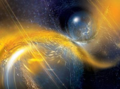 Artist's impression of the binary neutron star merger observed by LIGO Livingston on April 25, 2019. Image credit: National Science Foundation/LIGO/Sonoma State University/A. Simonnet