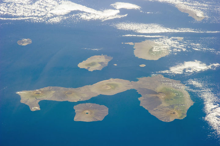The Galapagos Islands or Islas Galapagos, distributed on either side of the Equator in the eastern Pacific Ocean. An archipelago of volcanic islands, the group's official name is Archipielago de Colon. Image credit: NASA, Public Domain