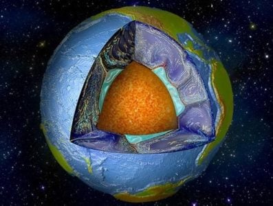 Artist's rendition of Earth, cut away to reveal individual layers, including the deep mantle. Image credit: Mingming Li/ASU