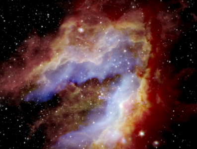 Composite image of the Swan Nebula. SOFIA detected the blue areas (20 microns) near the center, revealing gas as it's heated by massive stars located at the center and the green areas (37 microns) that trace dust as it's warmed both by massive stars and nearby newborn stars. The nine never-before-seen protostars were found primarily in the southern areas. The red areas near the edge represent cold dust that was detected by the Herschel Space Telescope (70 microns), while the white star field was detected by the Spitzer Space Telescope (3.6 microns). The space telescopes could not observe the blue and green regions in such detail because the detectors were saturated. SOFIA's view reveals evidence that parts of the nebula formed separately to create the swan-like shape seen today. Credits: NASA/SOFIA/De Buizer/Radomski/Lim; NASA/JPL-Caltech; ESA/Herschel