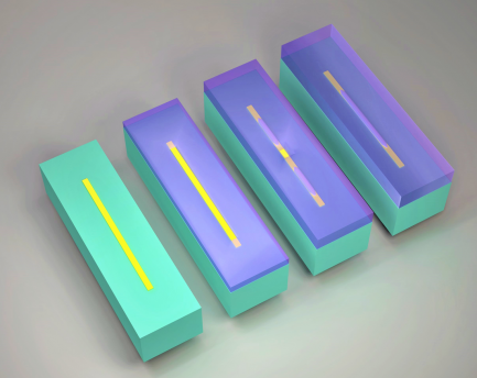 MIT researchers have discovered a method to predict and control the length of tunnels in solid germanium by laterally growing it over silicon oxide strips (shown in yellow) on top of silicon (green), depicted from left to right. Germanium, shown in purple, smoothly covers the silicon but forms voids and tunnels (lighter shade of purple) where germanium and silicon oxide meet. The voids and tunnels reconfigure into a single tunnel as the growth proceeds. Image credit: Rui-Tao Wen/MIT
